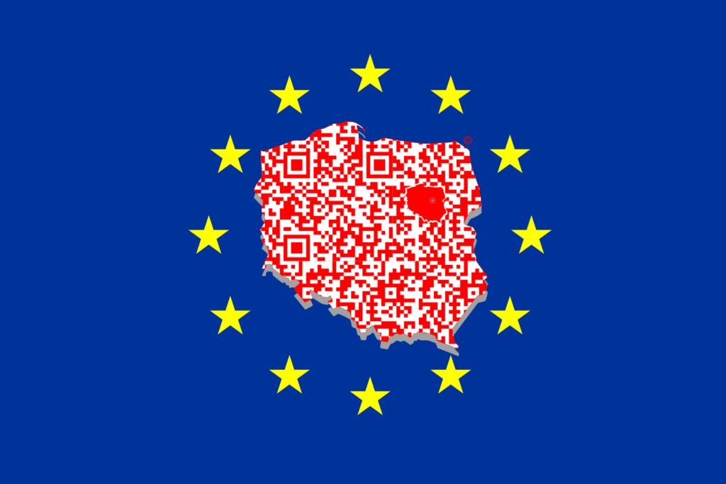 QR MAPS Polska na tle flagi Unii Europejskiej Trademark – Poland™ Wszelkie Prawa Zastrzeżone